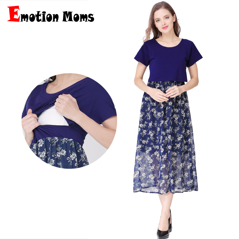 цена на Emotion Moms Short Sleeve Pregnancy Maternity Clothes Maternity Dress Breastfeeding Dresses for Pregnant Women Nursing Dress