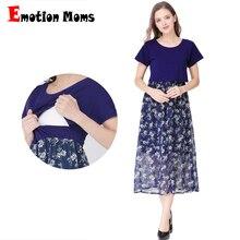 Emotion Moms Short Sleeve Pregnancy Maternity Clothes Dress Breastfeeding Dresses for Pregnant Women Nursing