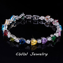 CWWZircons Новая мода кубический циркон ювелирные изделия Многоцветный австрийский кристалл любовь сердце форма браслеты для девушки CB163