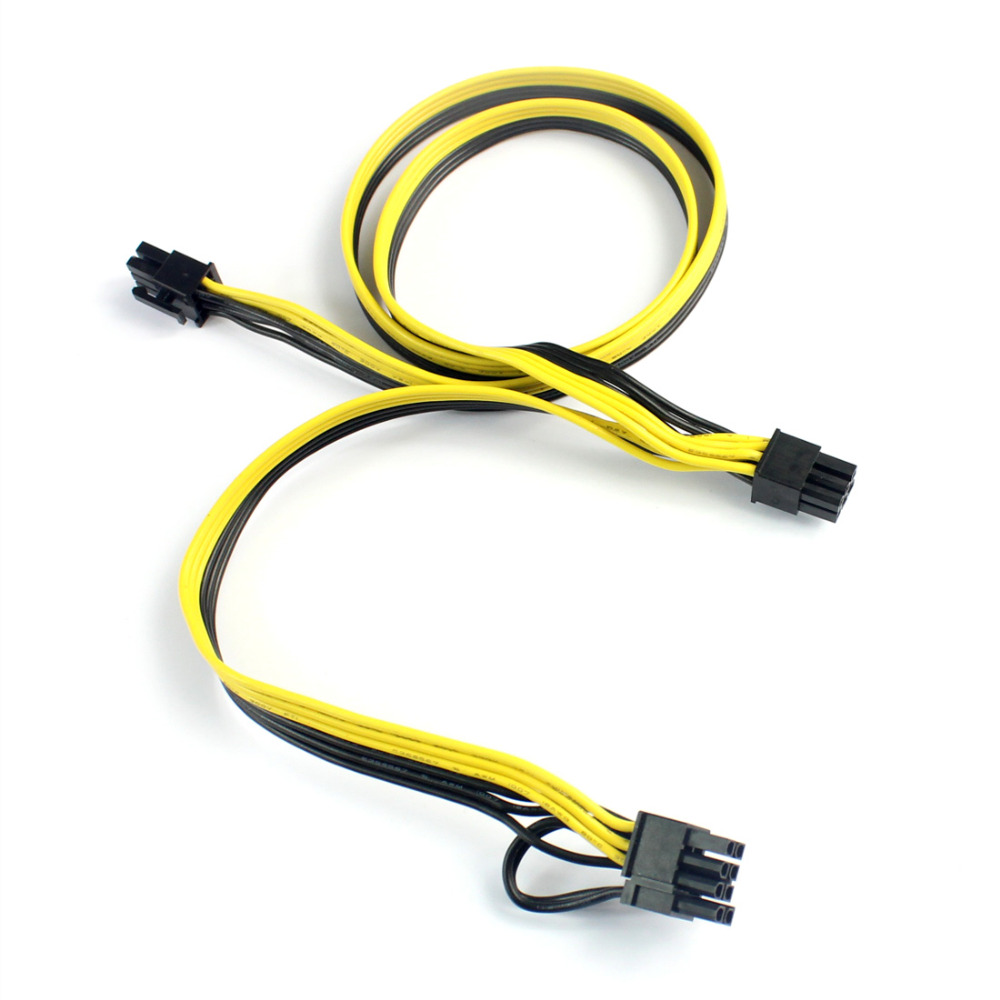 Occus PSU Power Supply Cables PCI e Molex Duoble 6pin 2 PCI-e 6 pin 6p PCI Express Internal Power Splitter Ribbon Cable 12AWG+18AWG Cable Length: 50cm Plus 20cm, Color: 20pcs