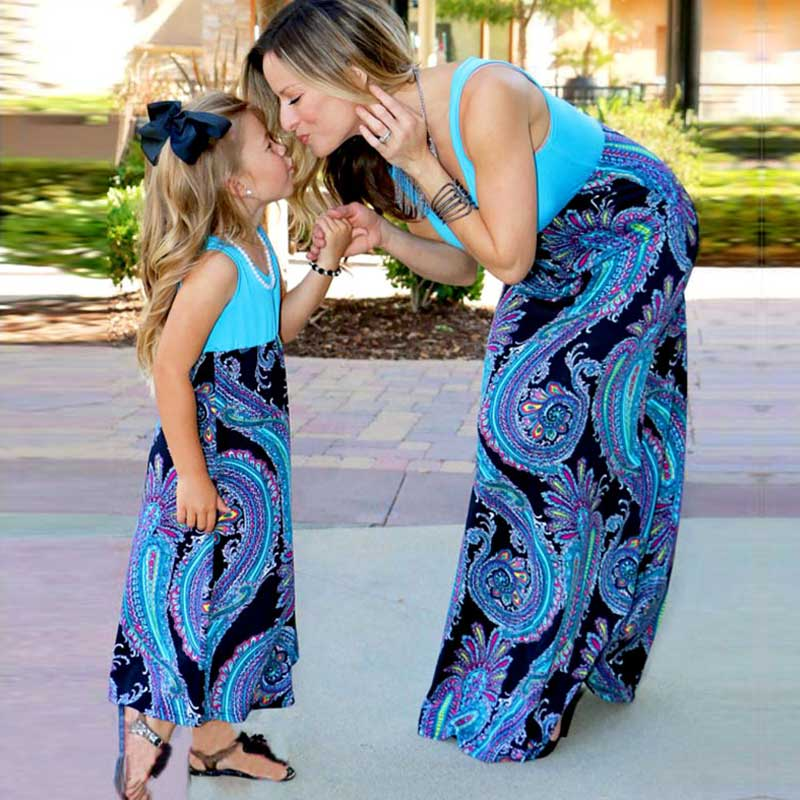 MVUPP Mother daughter dresses family matching clothes patchwork baby girl clothes mama mum and me evening casual maxi dress