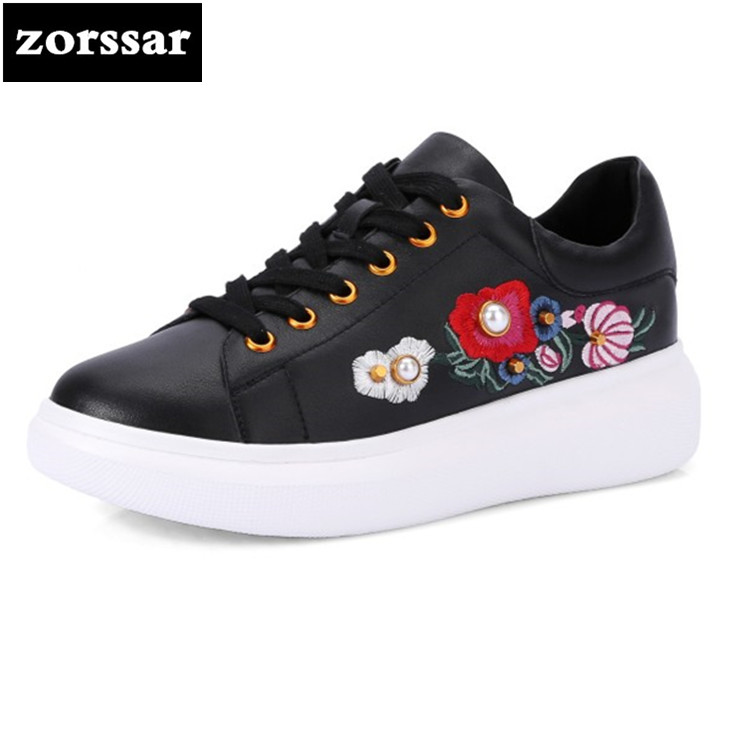 {Zorssar} 2018 New Spring fashion Embroidery Flowers Genuine Leather Women sneakers Casual Flats Walking shoes student shoes new fashion goldfish embroidery women s cloth shoes chinese nation style spring and autumn black soft walking flats ladies shoes