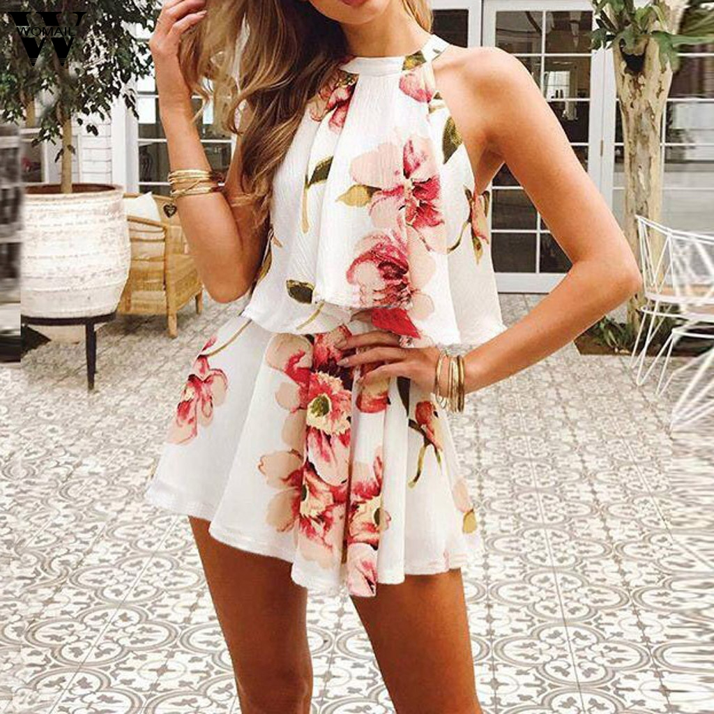 Womail bodysuit Women Summer Fashion Halter Sleeveless Sexy Print Mini Beach Sundress Shorts   Jumpsuits   Holiday 2019 A26