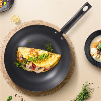 30CM Old fashioned Domestic Frying Pan Iron Wok Non coating Chinese Cooking Pan Smokeless Use for Gas and Induction Cooker