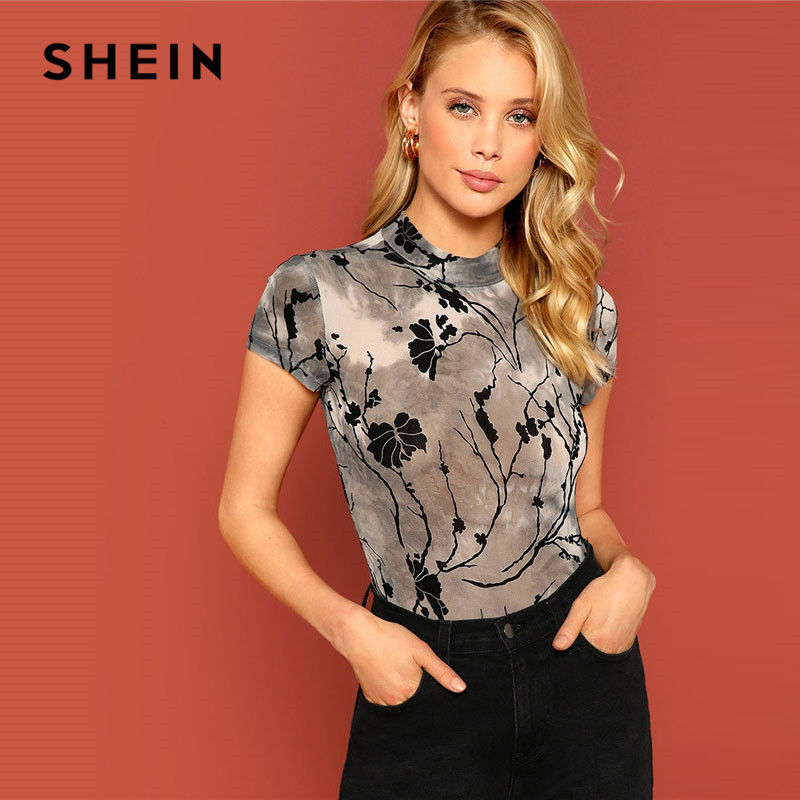 SHEIN Mock Neck Tie Dye Plant Print Ladies Mesh Tops Summer Highstreet Skinny Stand Collar Cap Sleeve Crop Women T Shirt