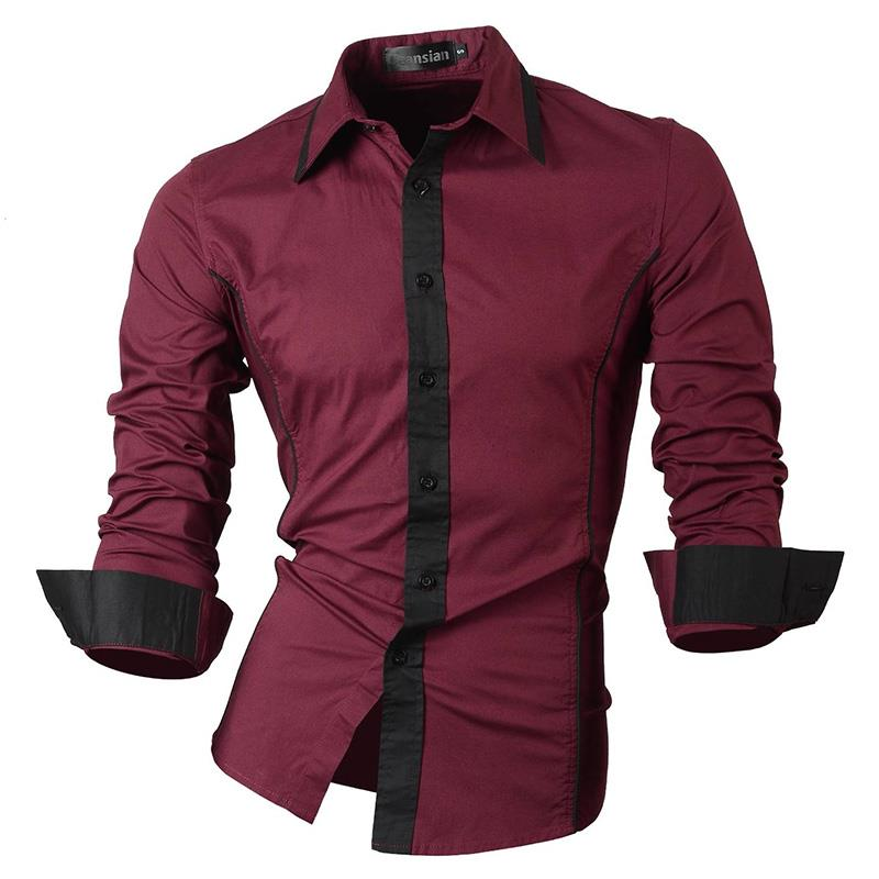 Jeansian Men 39 s Fashion Dress Casual Shirts Button Down Long Sleeve Slim Fit Designer 8015 WineRed in Casual Shirts from Men 39 s Clothing