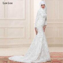 Amazing Beading Long Sleeve Mermaid Arabic Dubai Wedding Dresses with Hijab 2017 Ivory Bridal Gown Vestido De Noiva