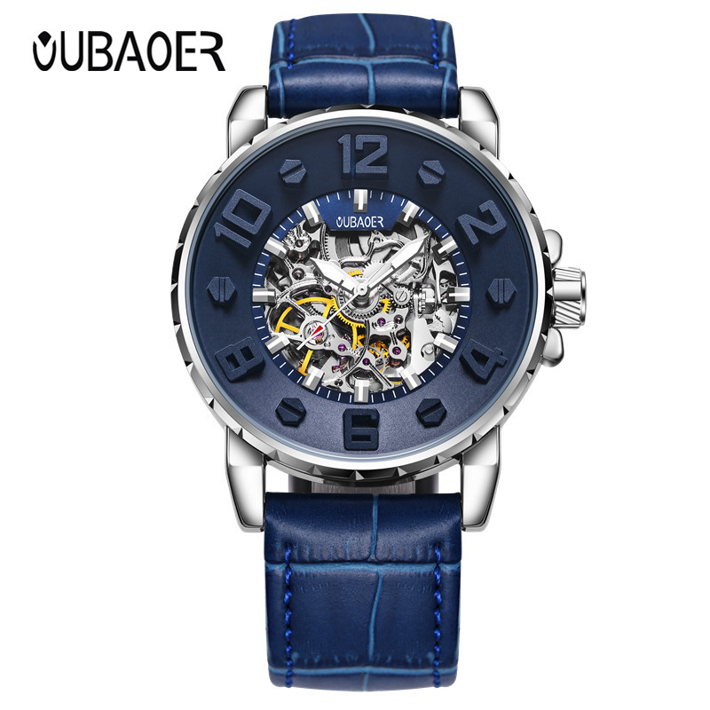 2018 New Blue Men s Skeleton Wrist Watch Fashion Male Automatic Mechanical Watches Men s Sports