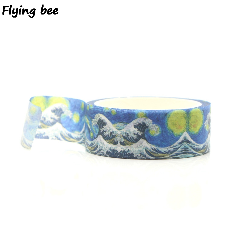 Flyingbee 15mmX5m Starry Sky Paper Washi Tape Kanagawa Wave Cool Adhesive Tape DIY Scrapbooking Sticker Label Masking Tape X0268