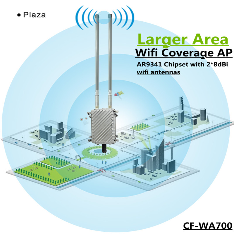 COMFAST CF-WA700 Wireless Outdoor AP Base Station Larger Area Wifi Coverage 300Mbps Wi Fi Router Add 2* 8dBi FRP Wifi Antennas