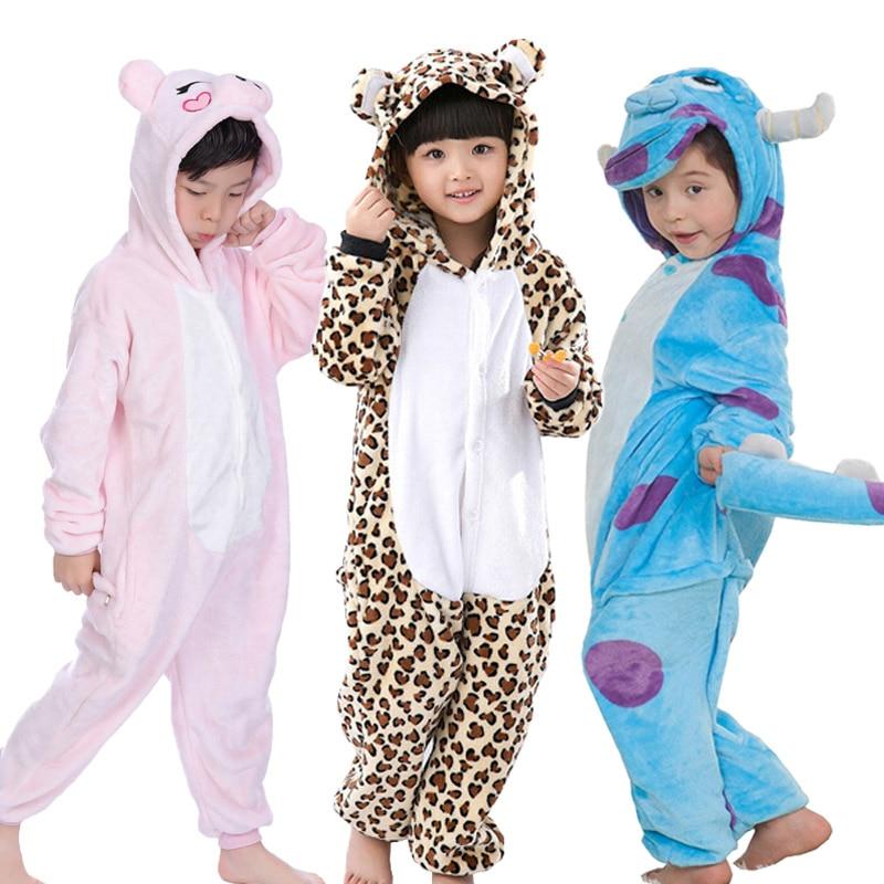 Kids Pajamas Children Winter Cosplay Leopard Pijama Infantil Kids Girl Boy Christmas Pyjama Animal Unicornio Panda Child Onesie