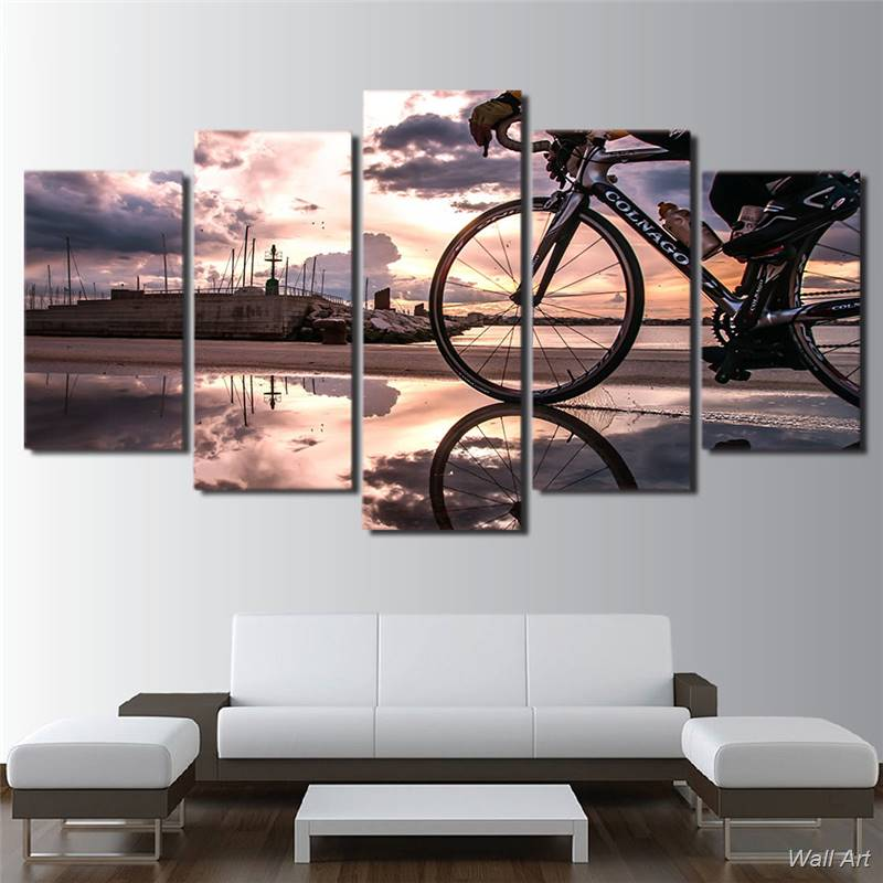 Hd Printed 5 Piece Canvas Art Bicycle Sunshine Cycling Modular Painting Wall Pictures For Living Room Free Shipping -92561-YP