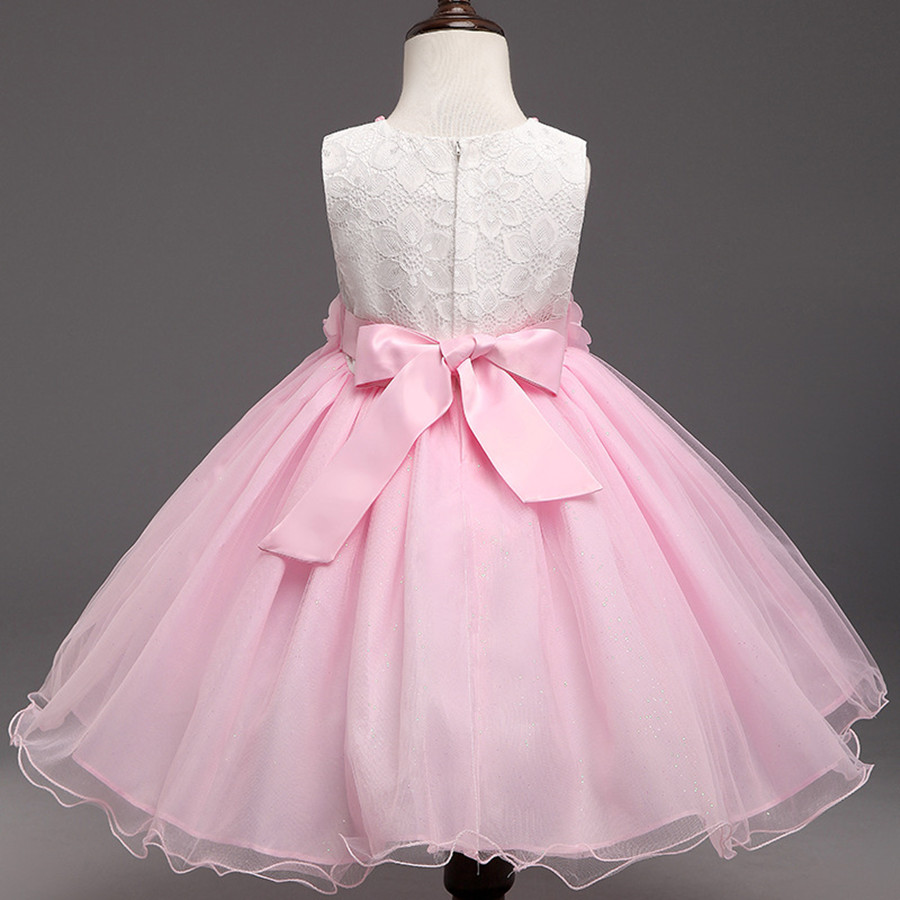 Kids Beauty Pageant Dresses Pink Pearl Bow Graduation Gowns ...