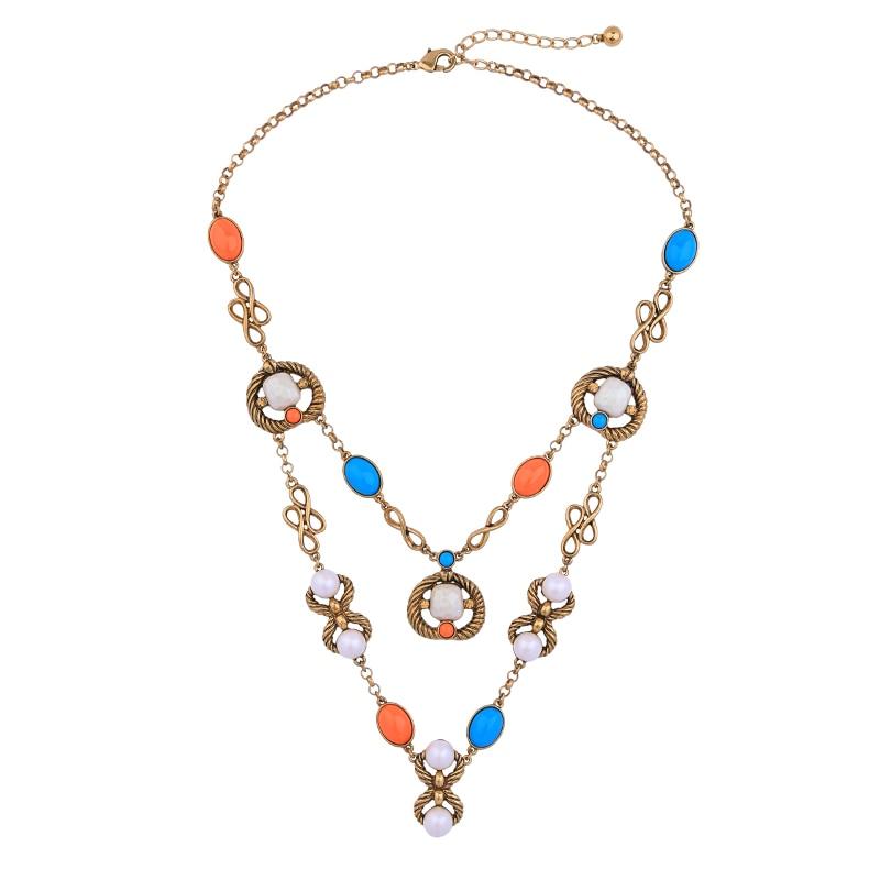 46538ec6011032 Multicolor Vintage Necklace Fashion Antique Gold Color Resin Acrylic Pearl  Costume Necklace Wholesale