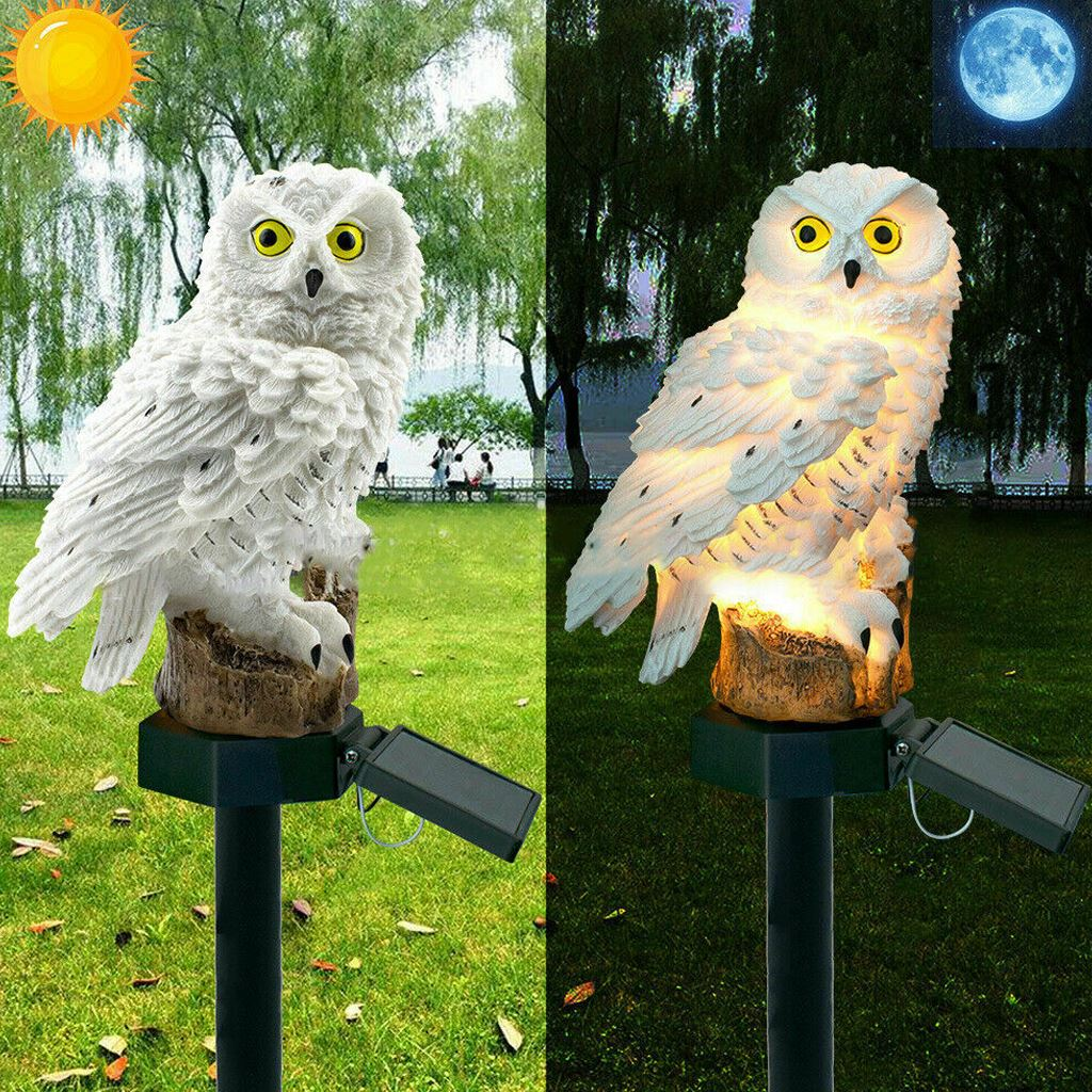 LED Solar Light White Owl Lawn & Garden For Outdoor Yard Garden Street Road Lighting Keep Birds & Squirrels Away Decoration Lamp