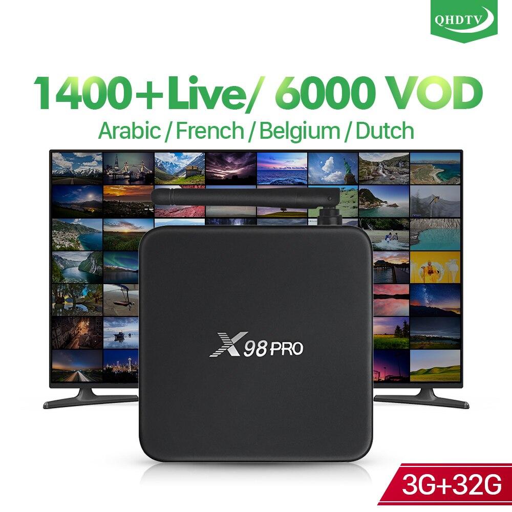 France arabe belgique IPTV QHDTV X98 Pro Android 6.0 3 + 32G Support BT double bande WIFI IP TV 1 an QHDTV Code français Android Box