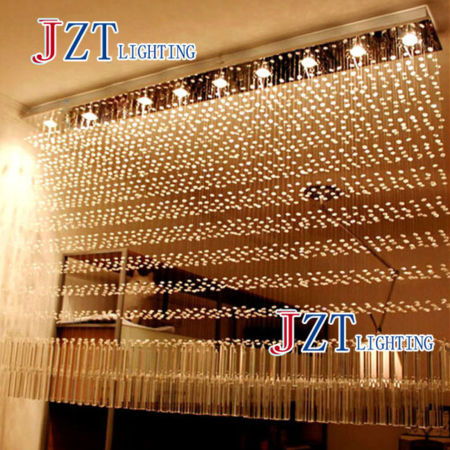 Luxury K Crystal Chandelier Rectangular Cut Crystal Lamp LED Bead - Curtain lights for bedroom