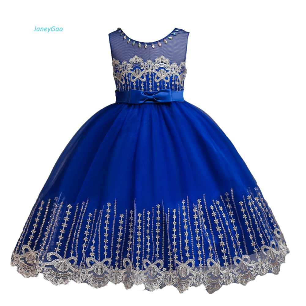 JaneyGao   Flower     Girl     Dresses   For Wedding Party Elegant Little   Girl   Formal Gown With Crystal Princess Teenage   Dresses   2018 New