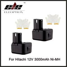 2 UNIDS 12 V 3.0Ah Ni-MH 3000 mah Reemplazo de la Batería de La Herramienta Eléctrica para Hitachi EB1212S EB1214L EB1222HL EB1230X EB1214S EB1220BL 322629