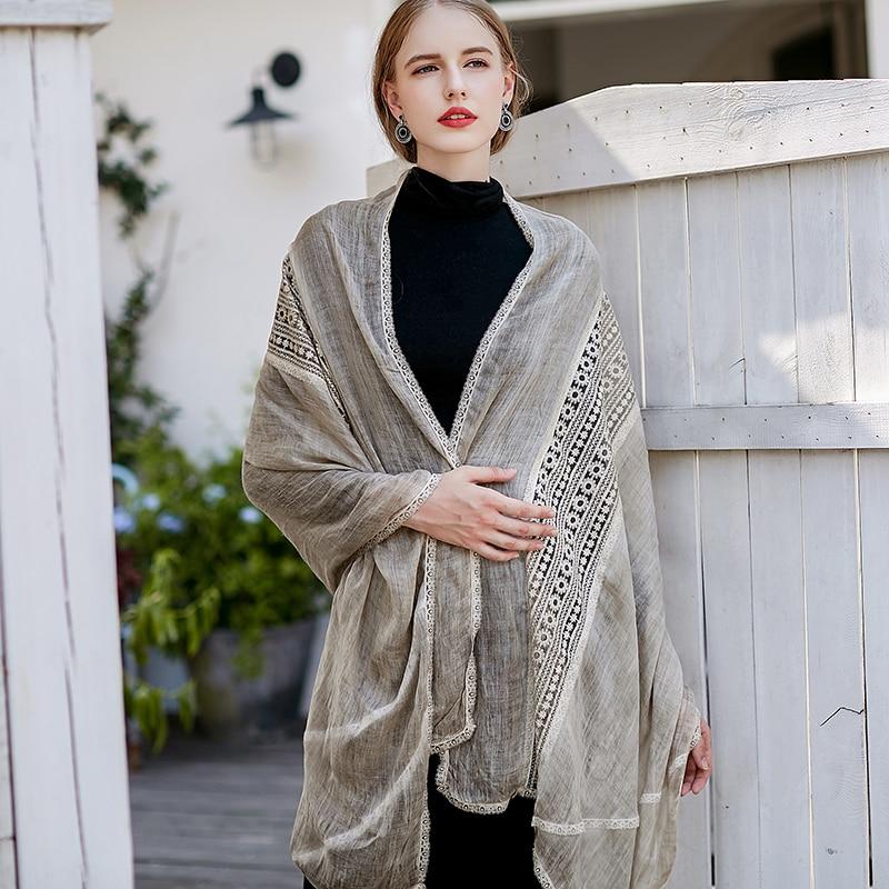 2018 Lace Infinity Head   Scarf   Brand Women Cotton catholic chapel veil muslim hijab   scarf     wraps   lady pashmina beach stoles hijab