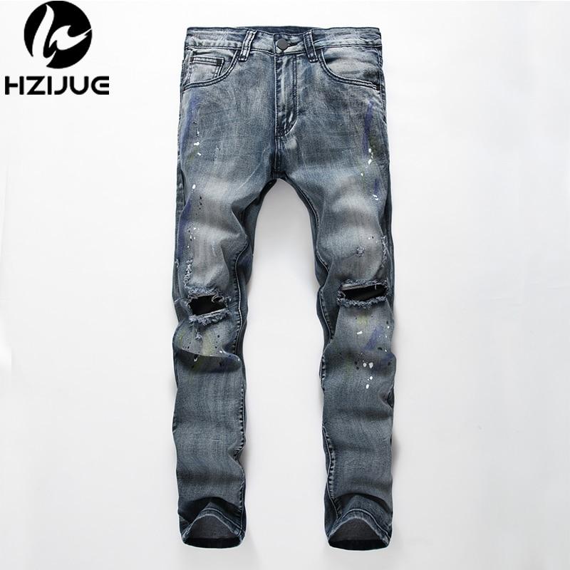 Hzijue 2018 nueva Alta Calidad Superior moda casual jeans hombres Kanye  Justin Bieber roto agujero jeans de salpicaduras de tinta hip Hop Pantalones 2fcadb87712b