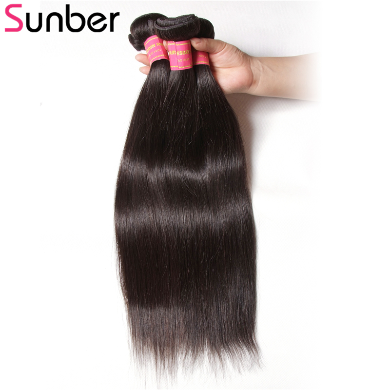 Sunber Indian Straight Hair Bundles 1/3 Pcs 100% Straight Human Hair Weave Bundles 8-30Inch Remy Hair Extension