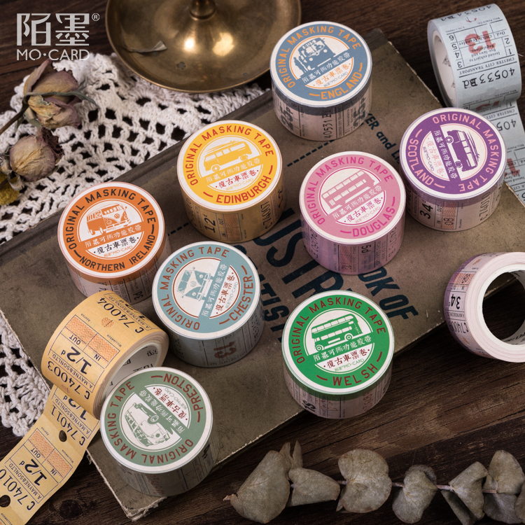 Retro British Ticket Series Office Adhesive Tape Vintage Planner Decorative Kraft Paper Washi Masking Tape Japanese Stationery