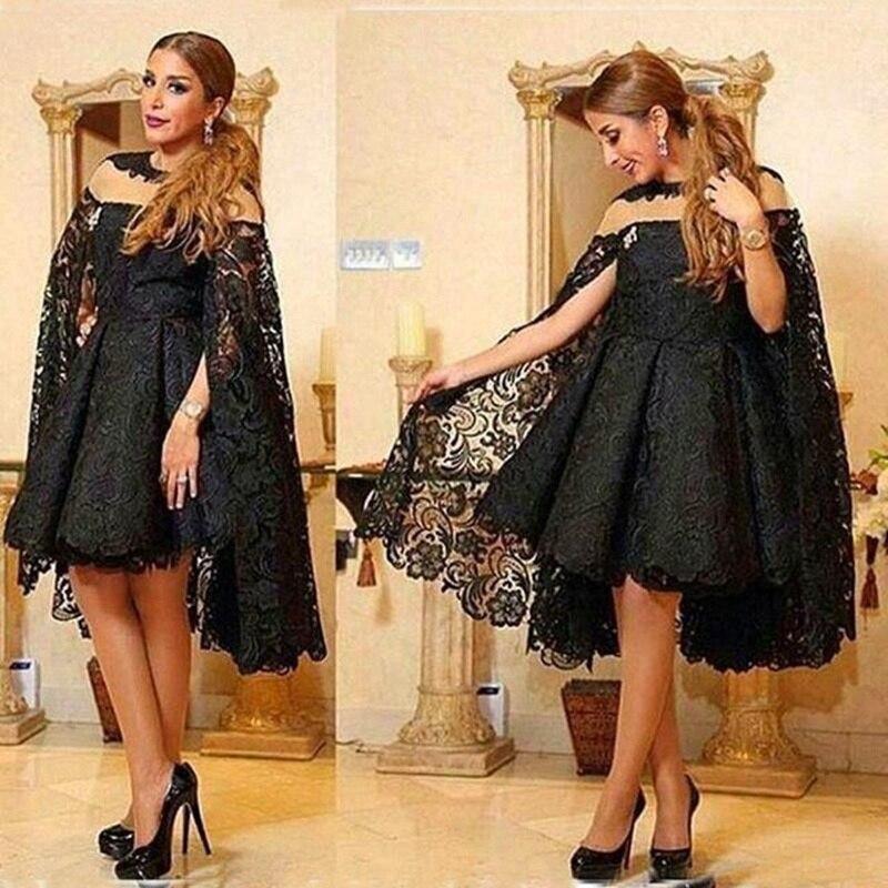 Sexy dentelle noire avec Cape robe de bal robe formelle robe de soirée abendkleider femmes robes de mariée