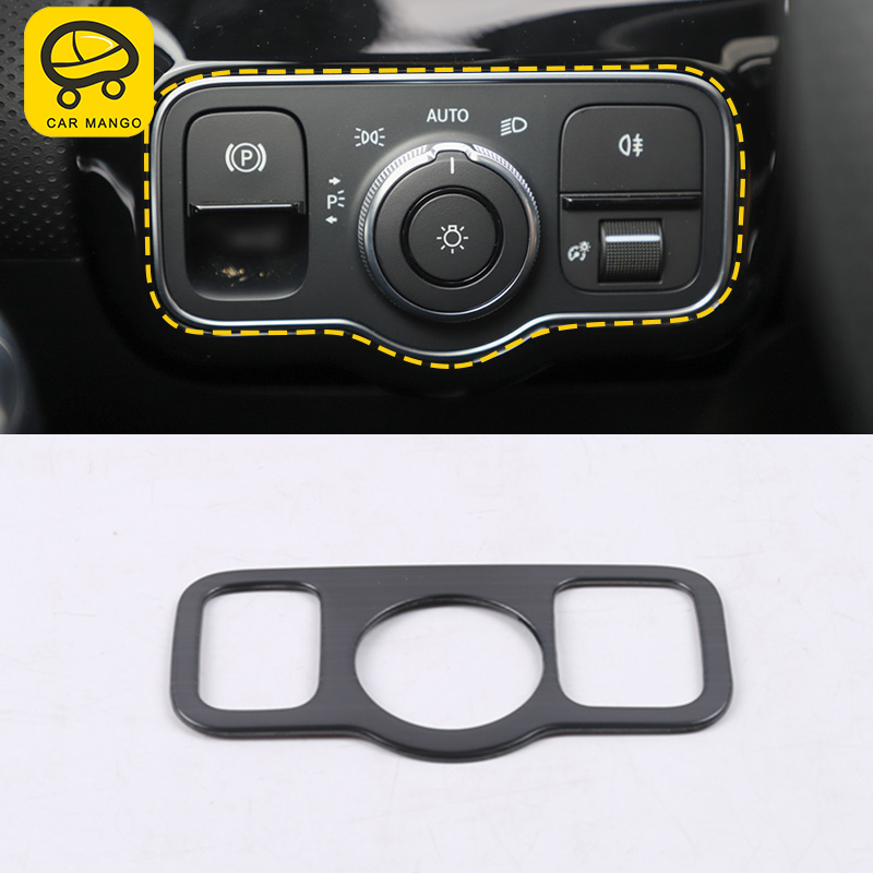 CAR MANGO For <font><b>Mercedes</b></font>-Benz A-Class 2018 <font><b>W177</b></font> V177 Auto Car light switch trim frame Sticker cover Accessories image
