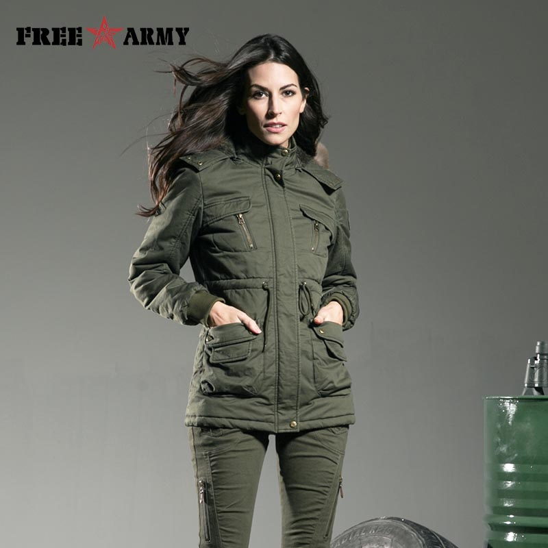 FREEARMY Brand Winter Jacket Womens Jackets And Coats Green Slim Fur Collar Medium Cotton Padded Down   Parkas   Women's Outerwear