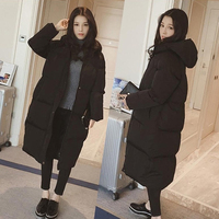 Korean version of the knee down cotton padded winter women's coat thick cotton jacket bread coat women's long section