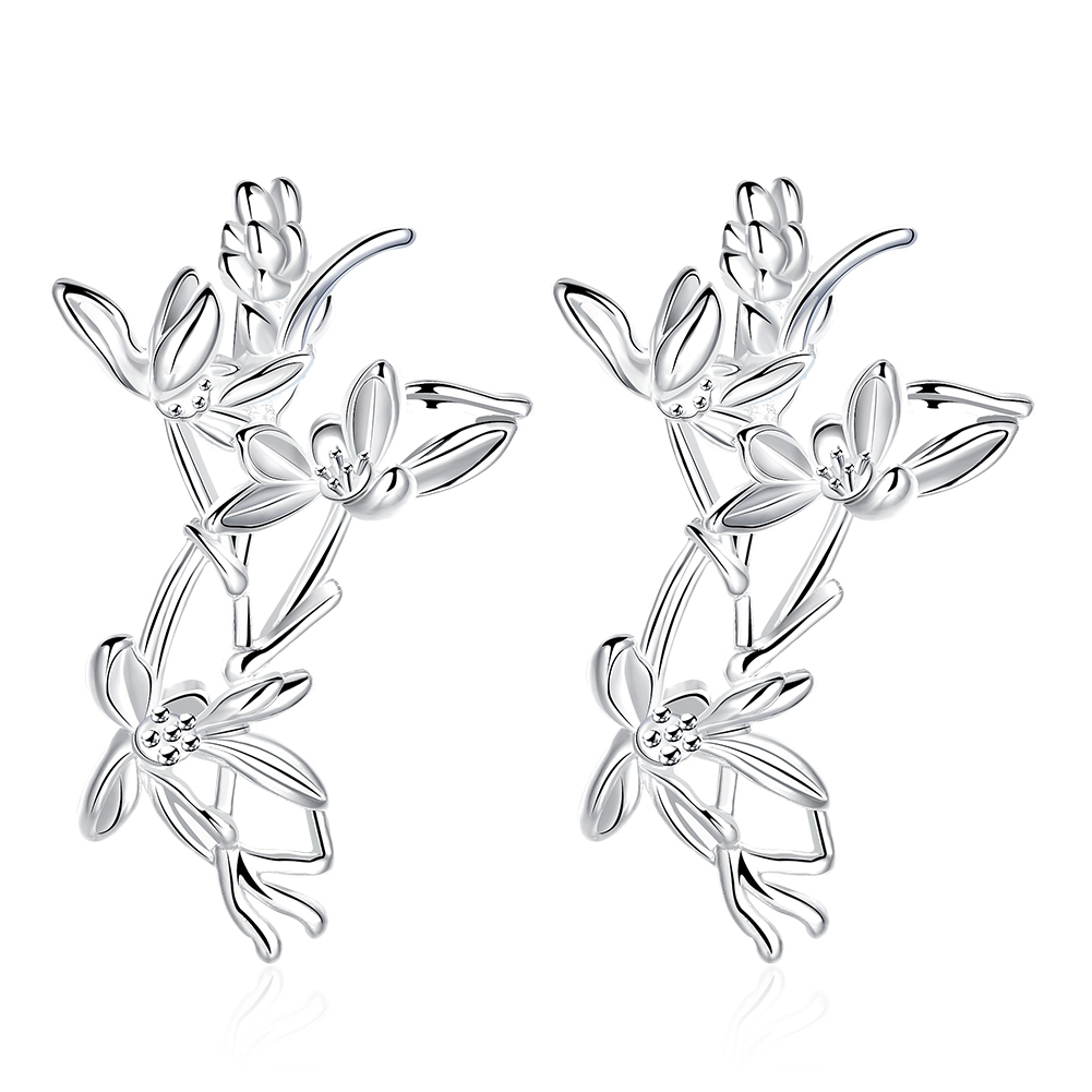 Special Personality 925 Sterling Silver Pretty Flower Shape Woman Lady Stud Earring Wedding Engagement Party Accessory Jewelry