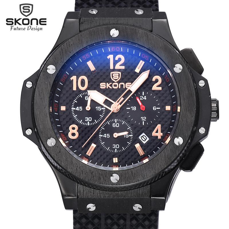 Prix pour SKONE Auto Date Chronographe Hommes Montre Étanche Mode Casual Bracelet En Silicone Militaire Sport Montres Horloge Relogio masculino
