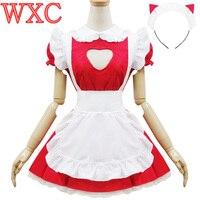 Sexy Open Chest JK Maid Uniform Cosplay Kawaii Headband Fancy Party Dresses Lolita Apron Maid Outfits