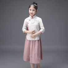 HAIJINMINGWEN childrens clothing Hanfu suit baby cotton and linen Chinese Tang girls national summer autumn