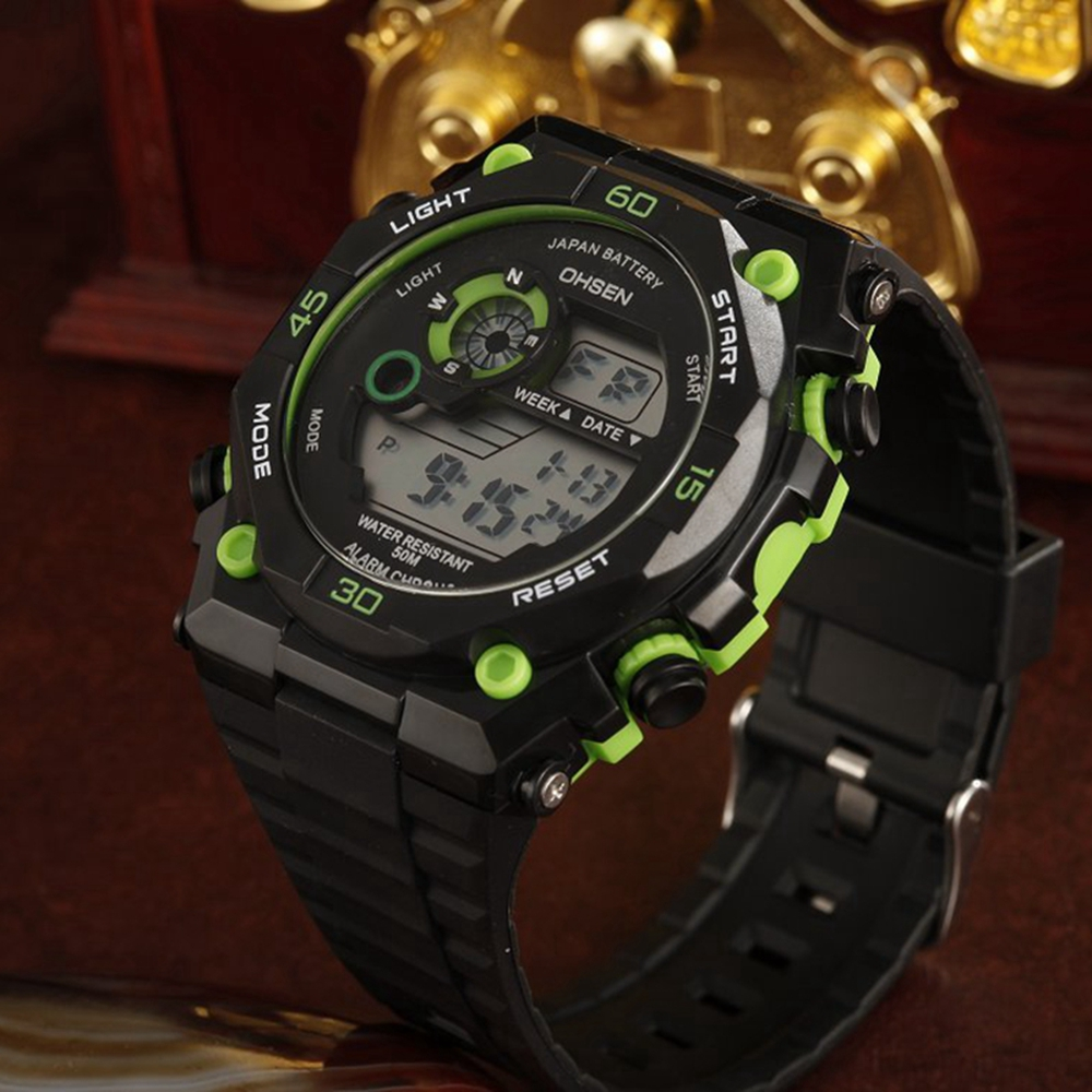 Top Brand OHSEN Mens Male 50m Waterproof Quartz Watch Rubber Band Sport Wristwatch Army Digital Green Clock Reloj Masculino Gift top brand ohsen fashion dual time led clock sports waterproof male watch digital anolog mens army wristwatch quartz montre homme