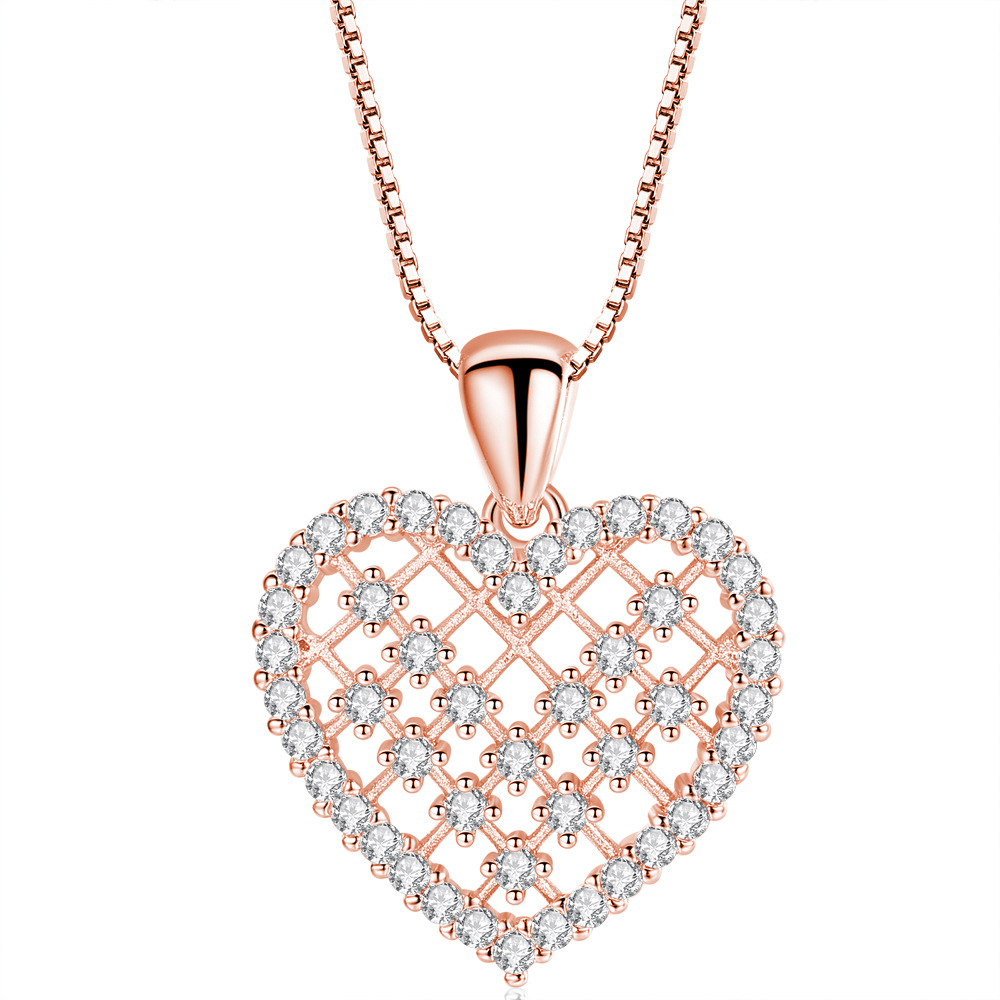 Heart Pendant Rose Gold Chain for Women Party Love Classic Beauty Necklace Wedding Accessories