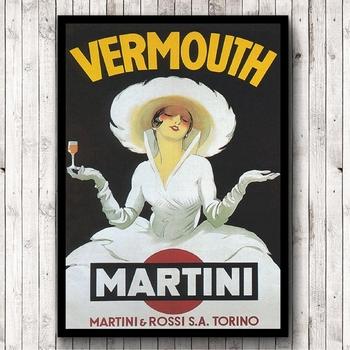 strong Import List strong Styl Vintage Vermouth Martini plakat Retro obraz ścienny na płótnie druk napój reklama obraz dekoracje barowe tanie i dobre opinie CN (pochodzenie) Wydruki na płótnie Pojedyncze PŁÓTNO Wodoodporny tusz Martwa natura bez ramki Retro i nostalgia Stare meble