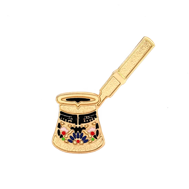 Free Shipping Vintage Palace Turkish Coffee Pot Brooch Pin Button Pins Women Clothes Decoration Fashion Jewelry Gift