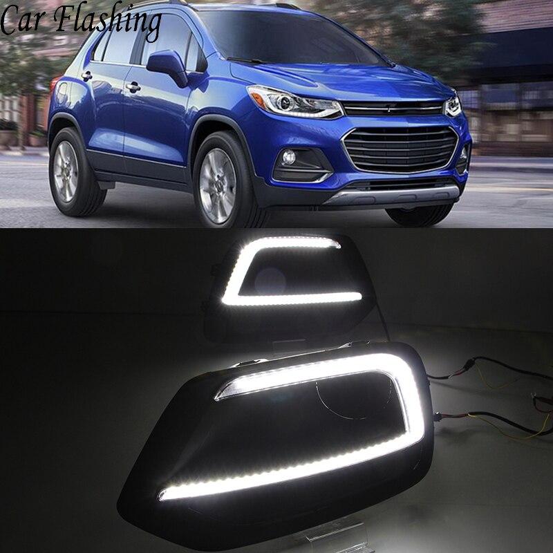 Car Flashing 1Pair DRL For Chevrolet Trax 2017 2018 Daytime Running Lights fog lamp cover Daylight