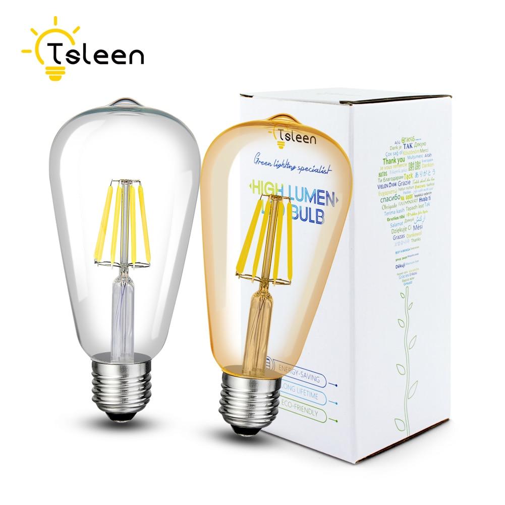 TSLEEN LED Filament Dimmable Lamp E26 220V 110V ST64 Retro Edison Light Bulb 16W Lamparas Led E27 Golden Glass Shell Globe Lamps