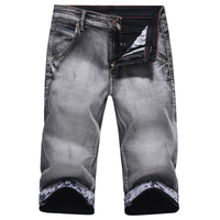 2016 New Arrival Fashion Mens Jeans Water Washed Straight Denim Shorts Men Light Gray Jeans Shorts