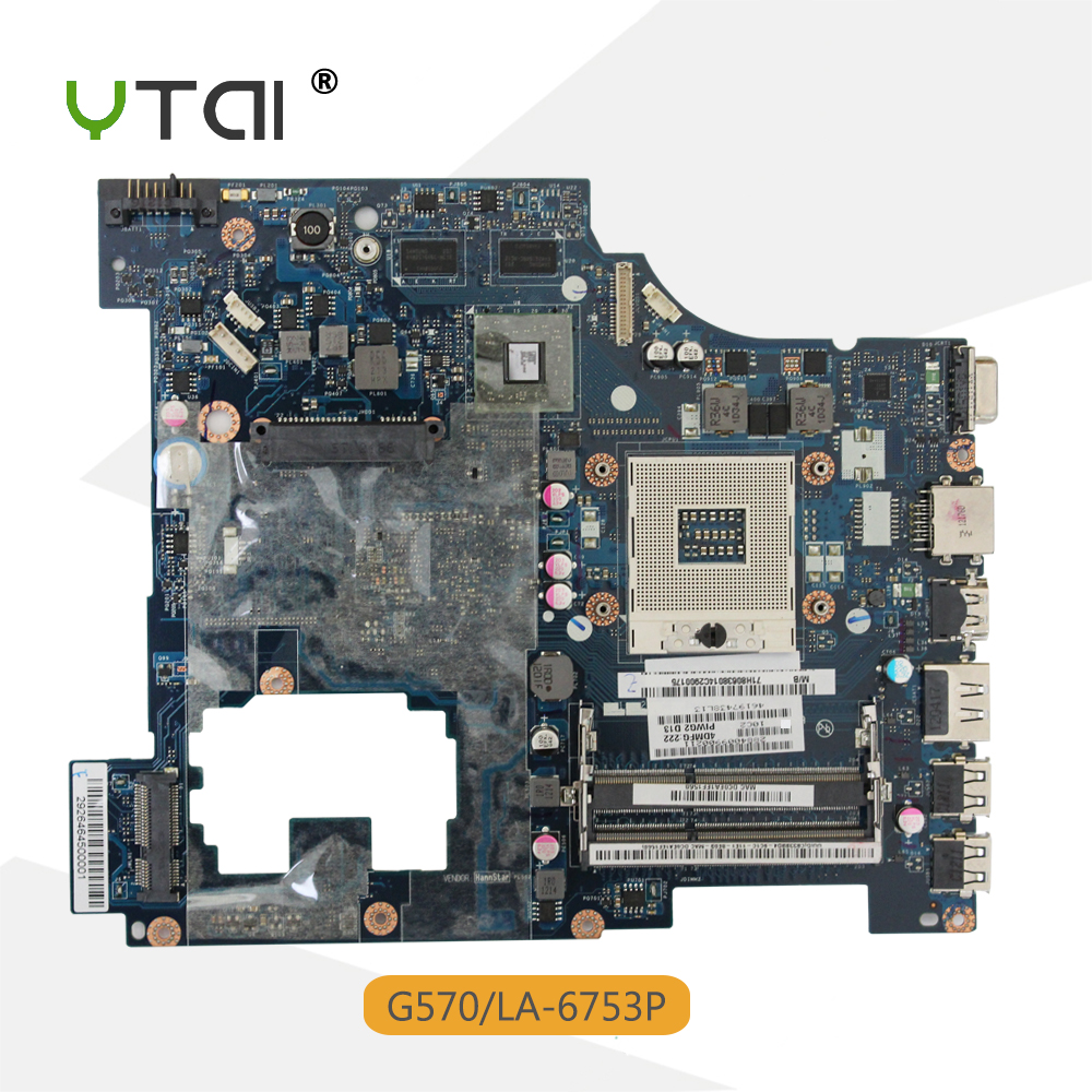 YTAI For Lenovo G570 laptop motherboard PIWG2 LA-6753P HM65 DDR3 Support I3 I5 processor mainboard fully tested for lenovo laptop motherboard g570 piwg2 la 6753p hm65 ddr3 pga989 mainboard