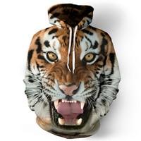 Men Hoodies Hip Hop Sweatshirt Funny 3D Tiger Lion Fashion Brand Plus Size 3XL Hoodie Men
