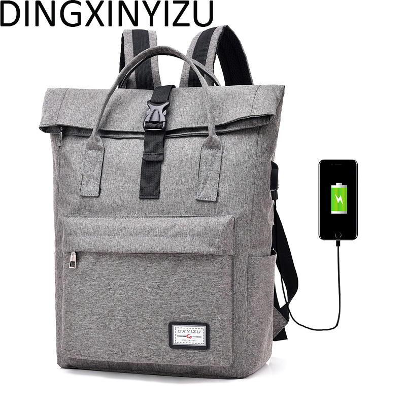 DINGXINYIZU Men Women Canvas Backpacks for Teenagers School Bag USB charging 15.6Inch Laptop Rucksack Casual Travel Male Mochila casual student school notebook bag men canvas laptop backpack large computer backpacks male travel rucksack mochila