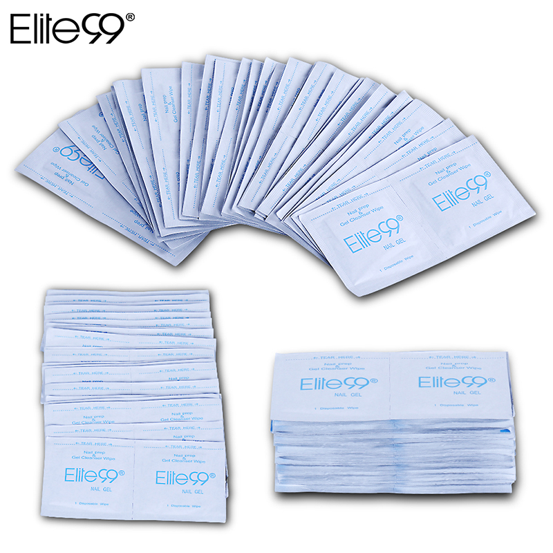 Elite99 50 pieces Cleaner For Soak Off UV Gel Wet Paper Pads Nail Polish Remover Wipes Manicure Tools Nail Art Cleaning Wraps