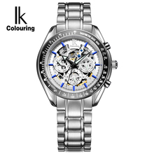 IK Man Automatic Mechanical Watches Men Luxury Brand Date 24 hours Stainless Steel Skeleton Watch Military Army Business relogio