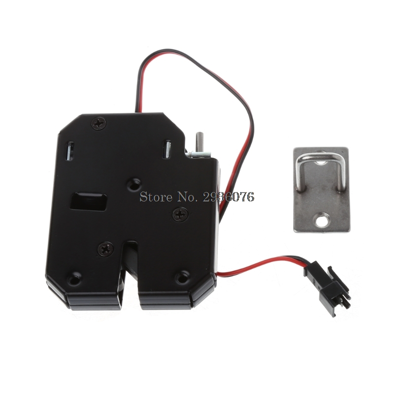 150kg/330lb Electromagnetic Electric Control Cabinet Drawer Lockers For 12v Dc Lock Latch Carbon Steel Black Door Access