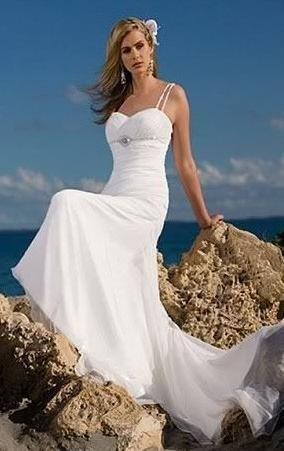 e90a00250c8 White strappy Chiffon Sheath beach wedding gown Wedding Dress (W10013)