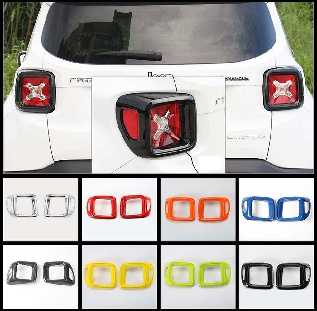 For Jeep Renegade 2015 2016 2017 Rear Complete Lamp Tail Light Cover Trim Frame Trim Cover 2pcs Car Modification